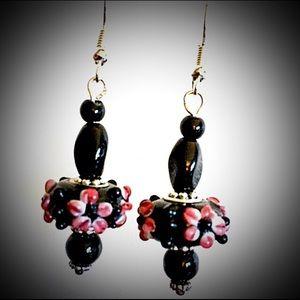 Earrings-Lampwork Black/Pink/Gold Floral